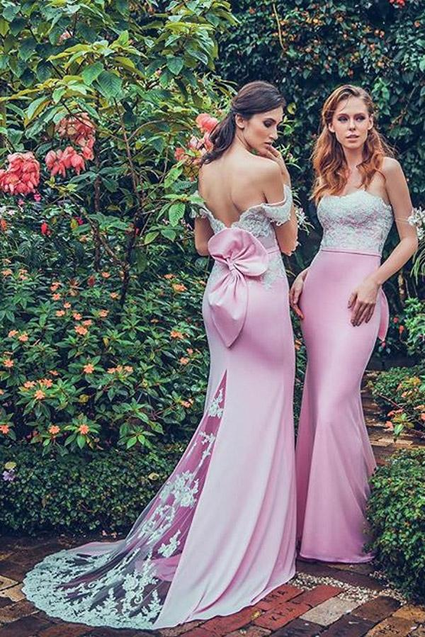 Pink Sheath Brush Train Off Shoulder Appliques Bridesmaid Dress – Ombreprom