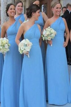 Shop Sheath One-Shoulder Sleeveless Chiffon Bridesmaid Dresses On Sale – #Ombreprom #bride ...