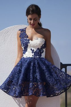 2018 Lace Homecoming Dresses One Shoulder With Applique A Line Bicolor US$ 149.99 KKP52JQ4E2 &#8 ...