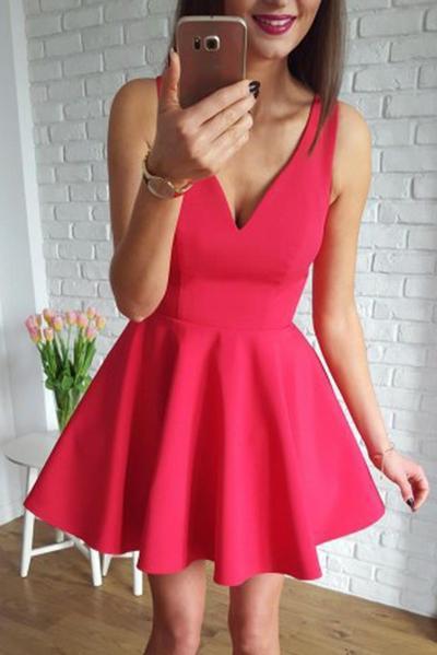 Satin V-neck Neckline Short Length A-line Homecoming Dress