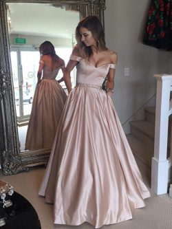 A-line Off-the-Shoulder Waist Beaded Satin Long Prom Dresses, Formal Dresses UK, OP199 – ombrepr ...