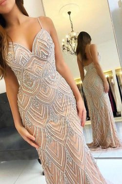 Charming V Neck Spaghetti Straps With Beaded Floor Length Prom Dress P651