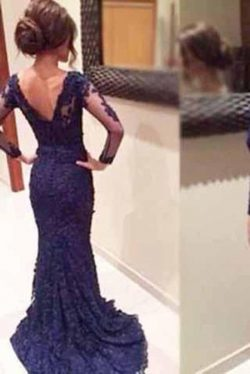 Stunning Long Sleeves V Neck Open Back Lace Long Prom Dress P669