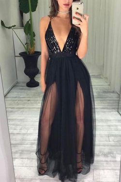 Sexy Black Spaghetti Straps Deep V Neck With Beading Prom Dress P652