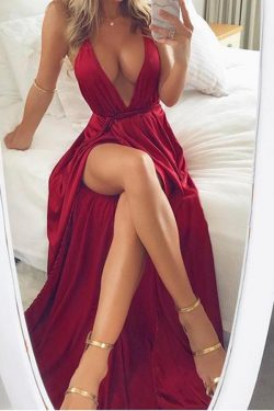 Stunning Red Spaghetti Straps V Neck With Split Side Prom Dress P654