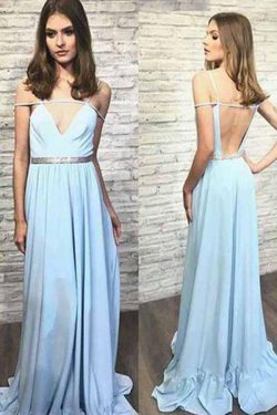 Charming Spaghetti Straps Light Blue Floor Length Long Prom Dress P670