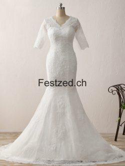 V-Ausschnitt Lange-Ärmel Spitze Brautkleider