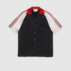 Acetate bowling shirt with Gucci stripe – Gucci Men's Shirts