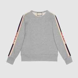 Cotton sweatshirt with Gucci stripe – Gucci Sweatshirts & Hoodies