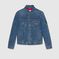 Denim jacket with embroideries – Gucci Denim