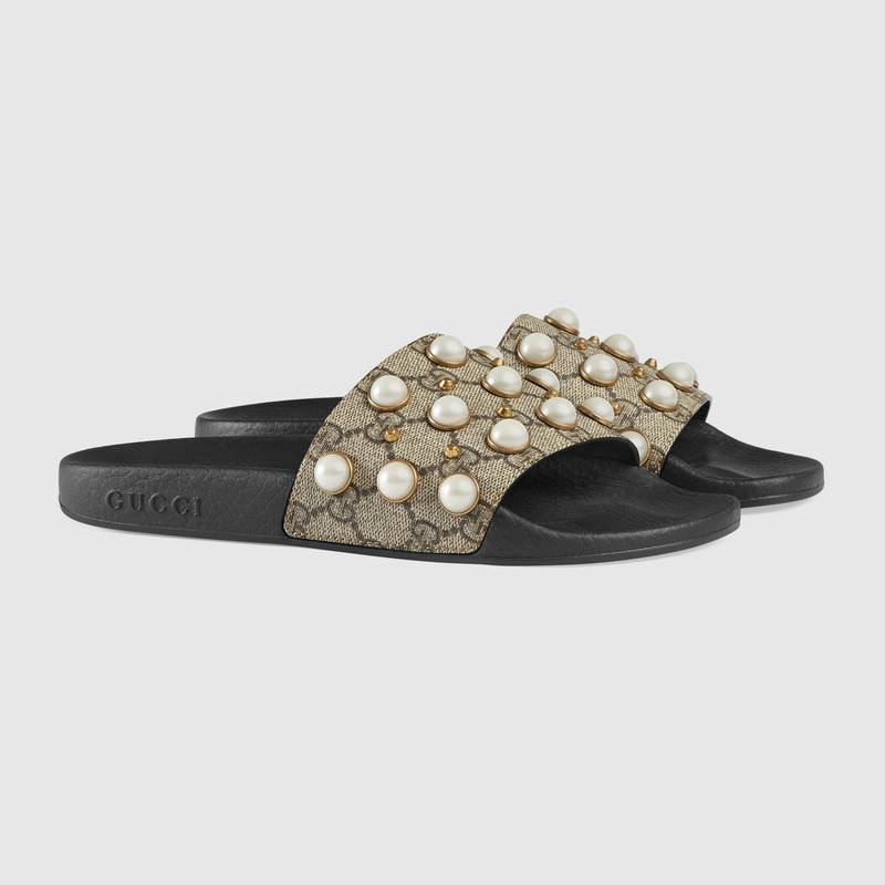 GG Supreme slide with pearls – Gucci Women's Slides & Thongs