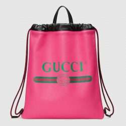 Gucci Print leather drawstring backpack – Gucci Men's Backpacks
