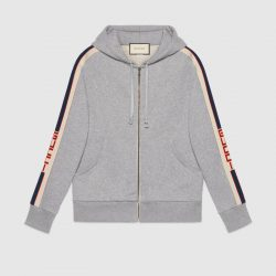 Hooded zip-up sweatshirt with Gucci stripe – Gucci Sweatshirts & Hoodies