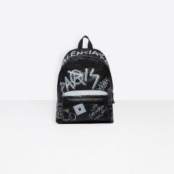 ‎Men‎'s ‎BLACK / WHITE ‎ ‎Explorer Backpack Graffiti ‎ | Balenciaga