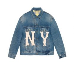 Men's denim jacket with NY Yankees™ patch – Gucci Gifts for Men