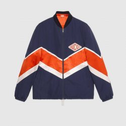 Nylon jacket with Gucci game patch – Gucci Men's Bombers