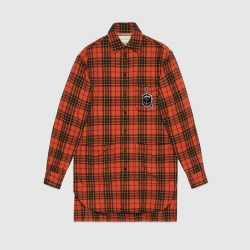 Oversize check wool shirt with anchor – Gucci Men's Casual Shirts