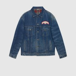 Oversize denim jacket with patches – Gucci Denim