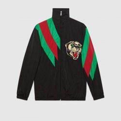 Oversize nylon jacket with Web intarsia – Gucci Outerwear & Leather Jackets