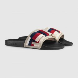 Satin slide with Sylvie bow – Gucci Women's Slides & Thongs