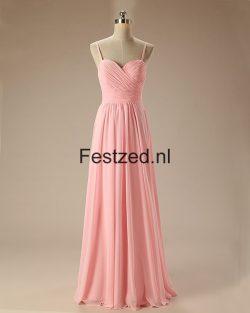 Roze Schouderbanden Liefje Chiffon Lange Galajurken – Festzed Nederland