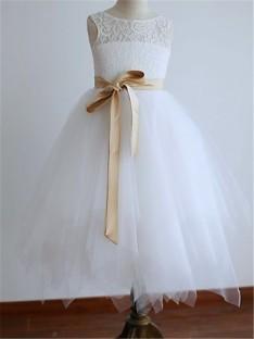A-line Scoop Tea-Length Tulle Flower Girl Dress