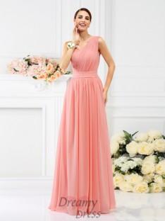 A-Line/Princess One-Shoulder Floor-Length Chiffon Bridesmaid Dress