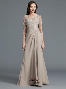 A-Line/Princess Scoop Applique Chiffon Floor-Length Mother of the Bride Dress