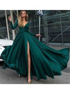 A-Line/Princess V-Neck Floor-Length Satin Chiffon Dress