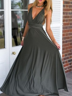 Empire V-neck Floor-Length Chiffon Dress