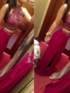 Sheath/Column Jewel Sleeveless Floor-Length Chiffon Two Piece Dresses