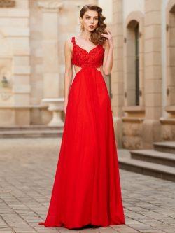 Affordable A-Line Straps Sleeveless Floor-Length Chiffon Dress